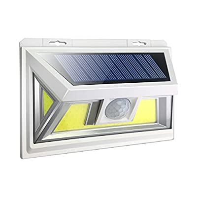 JUSLIT Motion Sensor Outdoor 74 Light Sources COB LED Solar Light, Super Bright, with Wider-Angle Lighting Panel, Wireless Waterproof Security Lights for Garage, Pathways, Backyard(1PK)