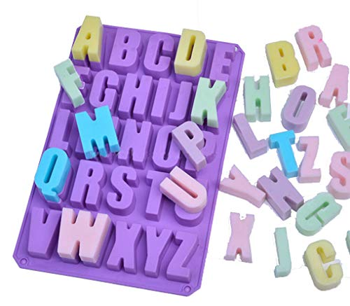 Kisweet 26 Cavities Alphabet Silicone Cake Baking Mold Capital Letter Cake Pan Muffin Cups Handmade Soap Moulds Biscuit Chocolate Ice Cube Tray DIY Mold