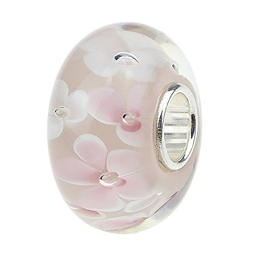 (Ollia Jewelry Lampwork Murano Glass Beads Hawaii Garden Charm with 925 Sterling Silver Core Flower Blossom Charm Pink Charms)