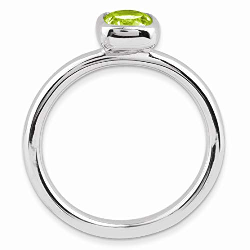 Silver Stackable Cushion Cut Peridot Solitaire Ring