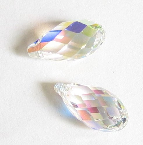 2 pcs Swarovski Crystal Teardrop 6010 Briolette Pendant Charm Clear AB 17mm / Findings / Crystallized Element