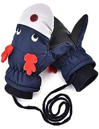 Kids Winter Mittens Waterproof - Boys Girls Fleece Lining Snow Ski Christmas Flying Reindeer Warm Gloves(Navy Blue)