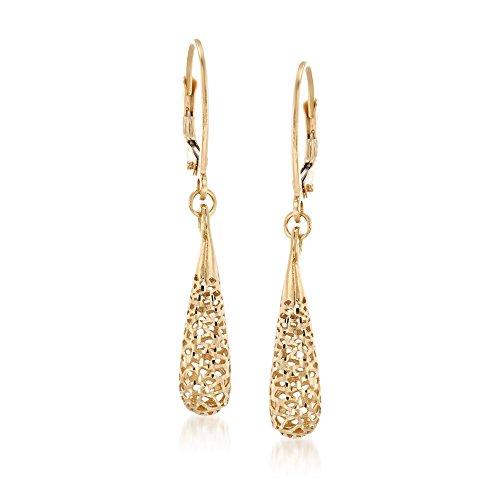 Ross-Simons Italian 14kt Yellow Gold Openwork Teardrop Earrings