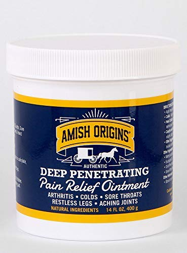 Amish Origins Pain Relief Ointment for Arthritis, Colds, Sore Throats, Restless Legs, Aching Joints 14 Ounce