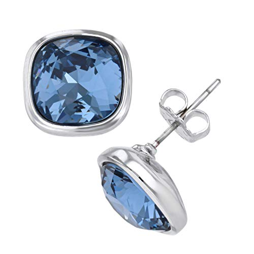 14 Karat Gold, Rose Gold or Rhodium Plated Large Faceted Your Choice Color Swarovski Stone ()