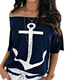 WSPLYSPJY Women's Short Sleeve Loose Fit Off Shoulder Printed Casual Anchor Blouse Tops Navy Blue L