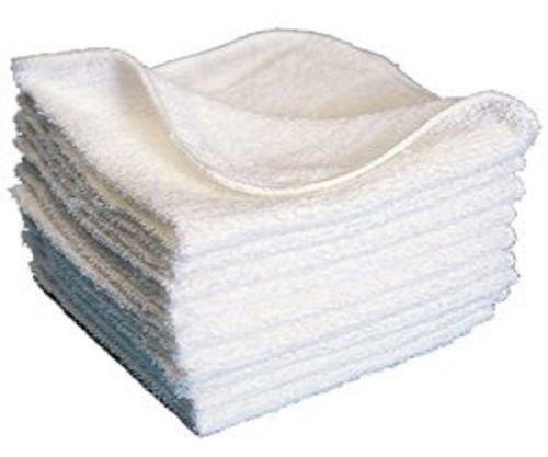 GHP 20-Lbs of White Cotton 12''x12'' Hem Stitch Locking Design Washcloths