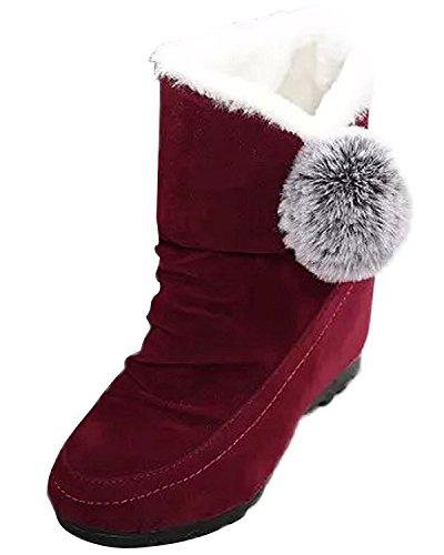 Altura Rojo Invierno Algodón Vino De Mujer Botas Botas Talón Poms Pom Plano Zapatos Minetom Lindo Nieve Botas Creciente AqRx0