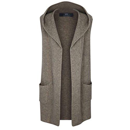 East Castle Women's Wool Hem Knit Vest Cozy Fit Hoodie Cardigan Tops W-112 4XL/US 18 Cocoa by East Castle