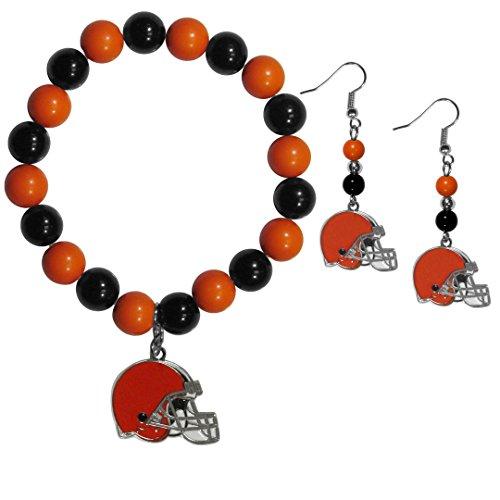 Siskiyou NFL Cleveland Browns Fan Bead Earrings & Bracelet Set -