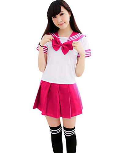 [Ninimour- Japan School Uniform Dress Cosplay Costume Anime Girl Lady Lolita (L, Hot Pink)] (Anime Girl Costumes)