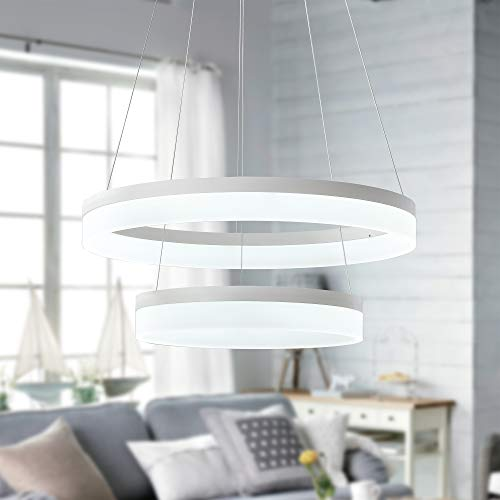 Warehouse of Tiffany 2-Light Led White Pendant with Clear Shade OXD8815/40+20