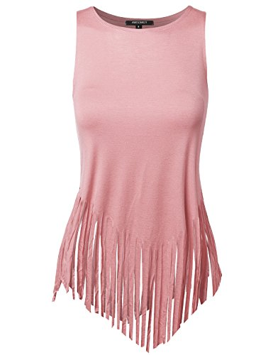 Awesome21 Solid Fringe Muscle Tank Top Rose Size S