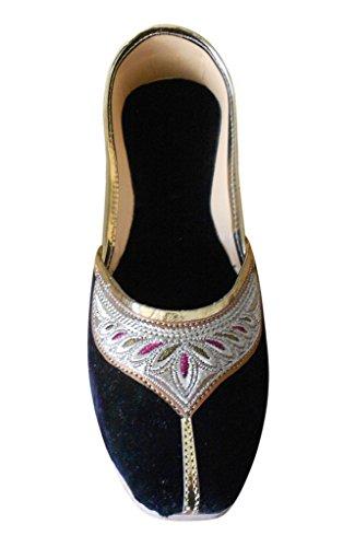 Creations con velluto tradizionale indiano ballerine ricamo Black in donne Kalra dSqYd