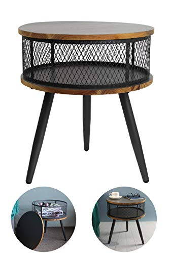 Aojezor End Table,Round Bedside Table,Nightstand,Telephone Stand,Small Floor Cabinet,Modern Toy Storage Chest,Under 100,Home Deco for Small Space,Grey & Light Wood
