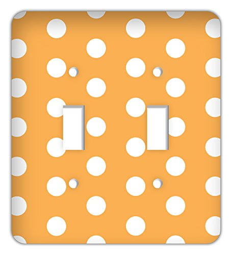 Large Polka Dot Print Trendy Printed Double Switchplate Cover, Orange ()