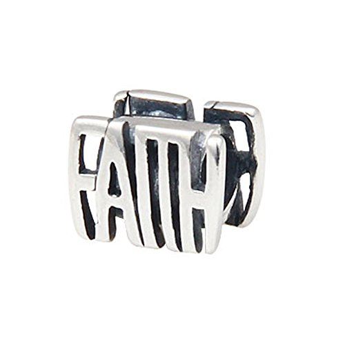 Detail Sterling Silver Charm - The Letter Faith Charm - 925 Sterling Silver Bead - Fits DIY Charm Bracelet
