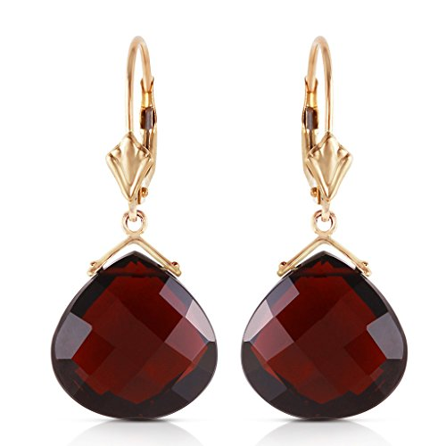 14k Yellow Gold Leverback Earrings Checkerboard Cut Garnet by Galaxy Gold