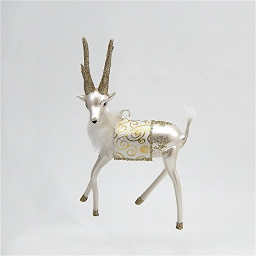 ament - Silver and White Reindeer - Italian Ornament (Radko Italian)