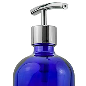 Refillable Liquid Soap Dispenser - Designer Cobalt Blue Bottle / Mirror Polished Silver Hand Pump with Stainless Steel Spring Mechanism - Decorative in the Kitchen or Bathroom