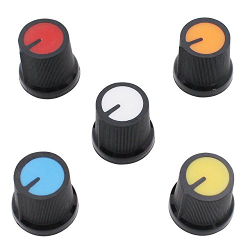 tary Taper Control Plastic Potentiometer Knob 6mm Knurled Shaft Hole (Pack of 50, 5 Colors) ()