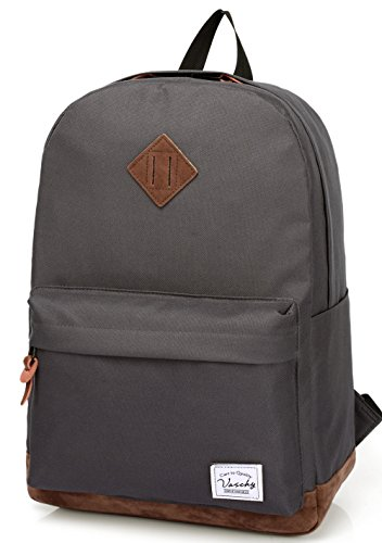 Vaschy School Backpack for College Students Casual Daypack with Padded 14 inch Laptop Compartment Dark Gray by Vaschy