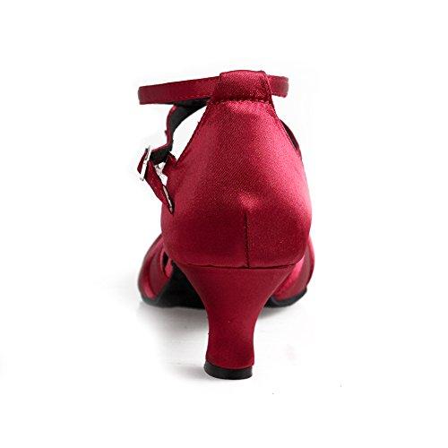 HROYL Zapatos de baile/Zapatos latinos de Satén mujeres EC5-F16 rosado