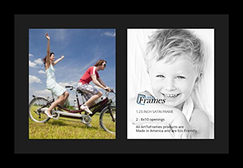 ArtToFrames Collage Photo Frame Single Mat with 2-8x10 Openings with Satin Black Frame and Black mat. (2 8x10 Picture Frame)