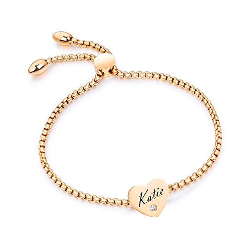 (Initial Bracelet - Custom Best Bitches Heart Name Bar Bangle Gold Plated)