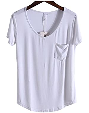 Women's Casual V Neck T-Shirt Short Sleeve High Low Tunic Loose Blouse Tops Pocket