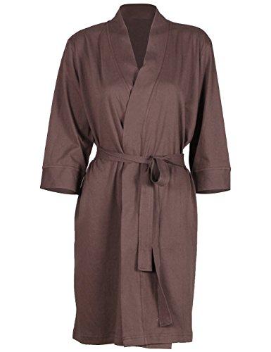 Glamour Belted Belt (D&P Women's Cotton Kimono Bathrobe Belted Spa Robe Knee Length Sleepwear (M,)