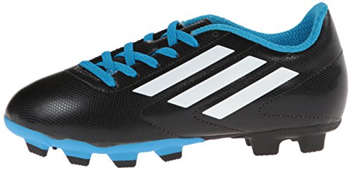 adidas Performance Conquisto FG J Soccer Shoe (Big Kid/Big Kid),Black/White/Solar Blue,13 US Big Kid