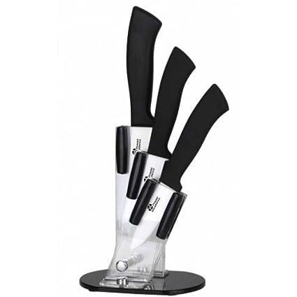 Pradel Excellence BL003 Blocco Plexi - Juego de 3 Cuchillos de Cocina (Hoja de cerámica)