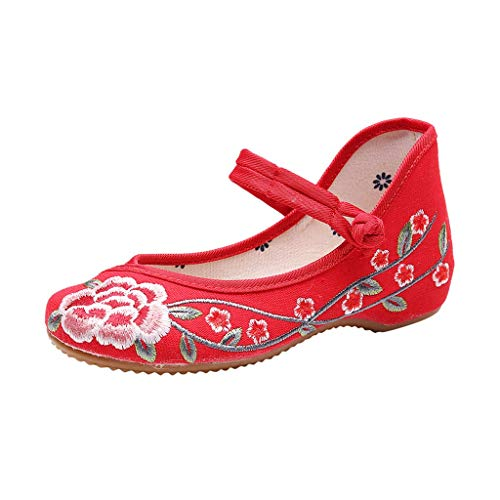 Toimothcn Embroidered Canvas Shoes Women Vintage Ankle Double Strap Ethnic Shoes (Red1,US:6.5) ()