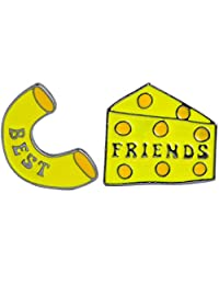 Charmart Best Friends Lapel Pin 2 Piece Set Macaroni and Cheese Enamel Brooch Pins Accessories Badges Gifts