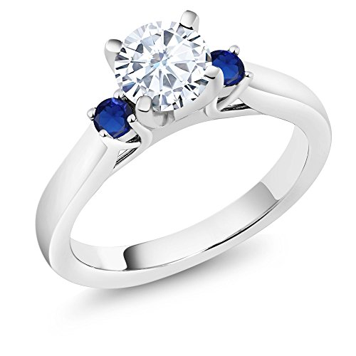 Moissanite Vintage Ring (0.94 Ct White Created Moissanite Blue Simulated Sapphire 925 Sterling Silver 3-Stone Ring (Ring Size 8))