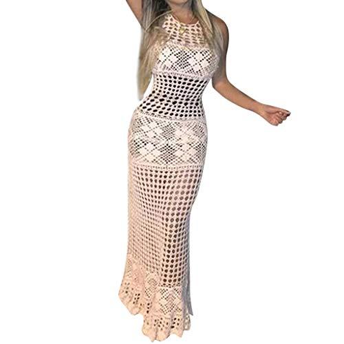 Pengy Women's Bikini Cover Up Crochet Sunscreen Swimwear Knit Beach Swimsuit Bandage Hollow Long Dress -