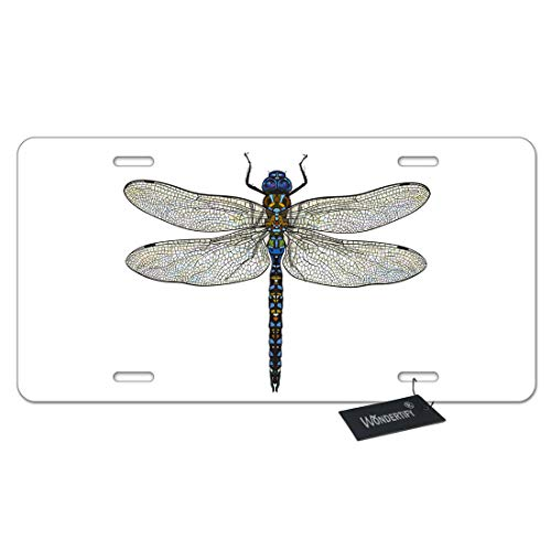 WONDERTIFY Dragonfly License Plate,Blue Dragonfly with Transparent Wings Insect Decorative Car Front License Plate,Vanity Tag,Metal Car Plate,Aluminum Novelty License Plate,6 X 12 Inch (4 Holes)