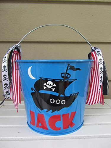 Personalized 5 quart Halloween pail- pirate ship design -