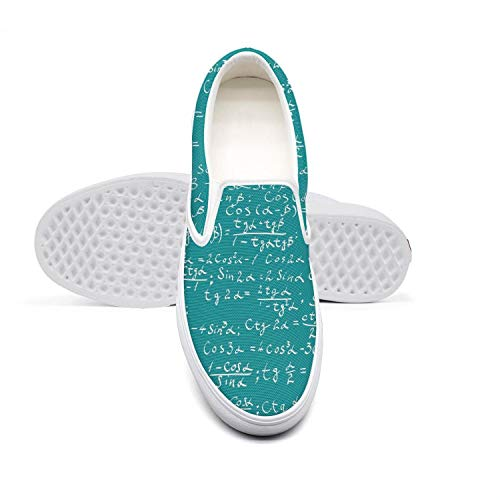 Womens Blue Partial Differential Equations Casual Sneaker Pattern Canvas Sports Rubber Sole Sports Shoes