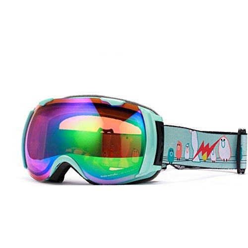 SE7VEN Dames Lunettes Double Couche Coupe-vent Anti-buée Lunettes De Ski Professionnel Bonne Vision Claire vertA
