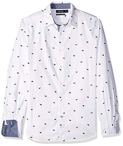 Nautica Mens Classic Fit Stretch Oxford Print Long SLV Button Down Shirt