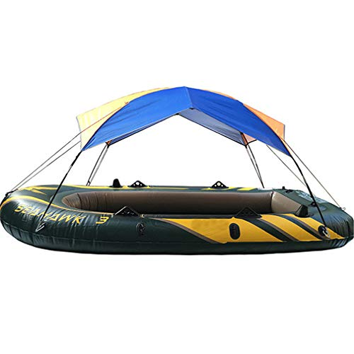Mexidi Inflatable Kayak Awning Canopy, 2/3/4 Person Foldable Boat Tent Sailboat Awning Top Cover Fishing Tent Camping Sun Shade Shelter Rain Cover Kit No Boat Included (4 Person)