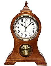 Beesealy Mantel Clock, Modern Silent Mantel Clock, Mantle Clock with Pendulum, Used for Living Room Decoration, Desktop, Desk Clock