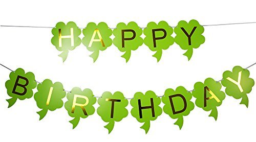 Brcohco Happy Birthday Banner Bunting with Gold Letters Party Supplies Green -