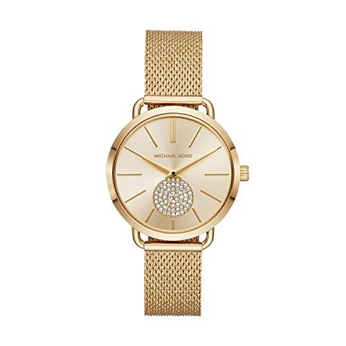 Michael Kors Women's Portia Analog-Quartz Watch with Stainless-Steel Strap, Gold, 16 (Model: MK3844)