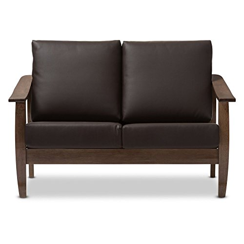 Baxton Studio Pierce Faux Leather Loveseat in Dark (Designer Style Leather Loveseat)