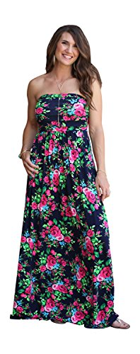 Lucky Love Maxi Dresses for Women, Plus Size Summer Beach Dress, Strapless, Vintage Floral by Lucky Love