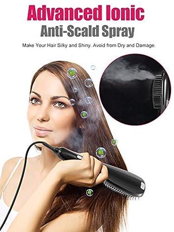 Hair Straightener Brush, 3-in-1 Enhanced Ionic Hair Straightening Brush with Ceramic Faster Heating Plate, Anion Spray Straightening Brush Anti- Scald Temperature Lock Function and Travel Size