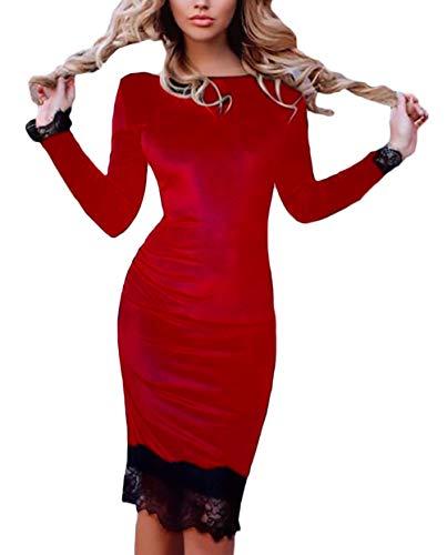 Rotondo Matita Pizzo Colori Autunno Vestiti Tubino Vestito Di Qualità  Dell anca Manica Party Gonna A Lunga Collo Pacchetto Donna ... c30f7f25a76